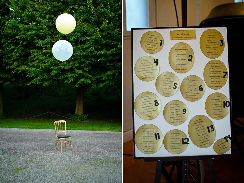 Annorlunda sätt att ange bordsplaceringen på Storstugan på Tjolöholms slott.