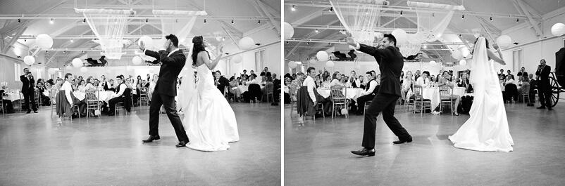 Dansuppvisning av brudparet själv. Storstugan på Tjolöholms slott.
