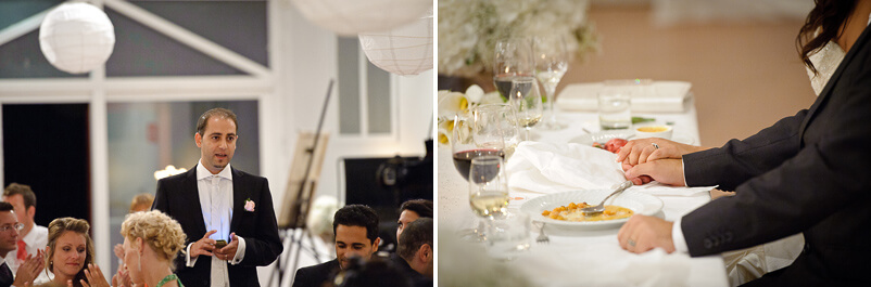 Toastmaster berättar om fortsättningen av kvällen på bröllopet i Storstugan på Tjolöholms slott.